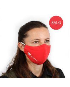 Munnbind 3-lags med nesebøyle - Rød - pakke á 10 stk.