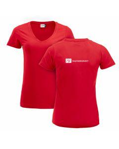 T-skjorte Dame med V-hals /Rod
