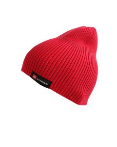 Rød lue strikket med refleksgarn